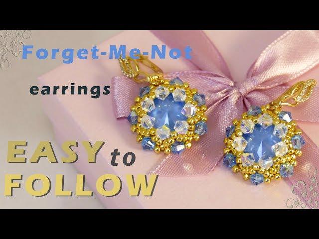 beading tutorial earrings with 14 mm rivolis