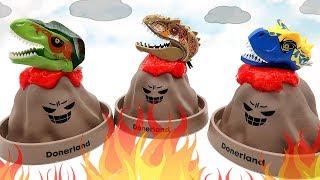 3 Volcano Eruption With Dinosaur Lego Heads! Tyrannosaurus, Pteranodon Toys For Kids