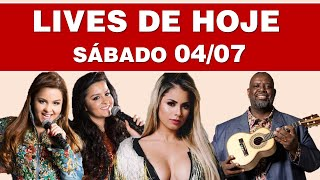 LIVES DE HOJE: SÁBADO 04/07 (AO VIVO NO YOUTUBE)