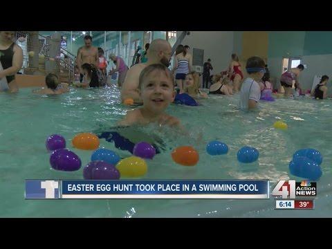 Gladstone Community Center hosts Easter egg hunt in swimming pool