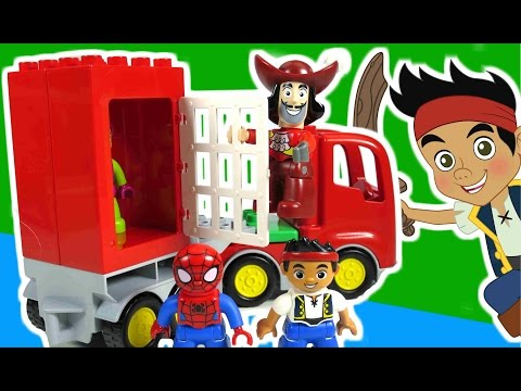 JAKE AND THE NEVER LAND PIRATES Disney Junior Spider-Man Lego Duplo Jake Video Toy Review