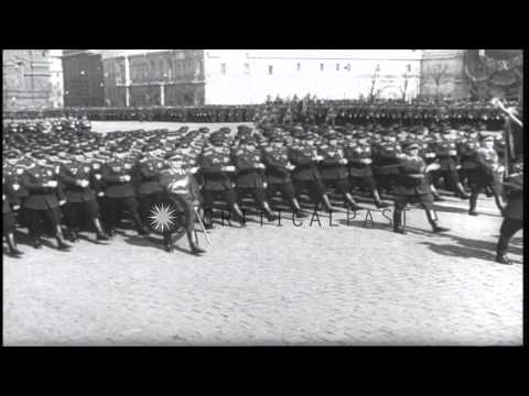 A large crowd gathers to watch May Day Parade in Moscow. Russia. HD Stock Footage