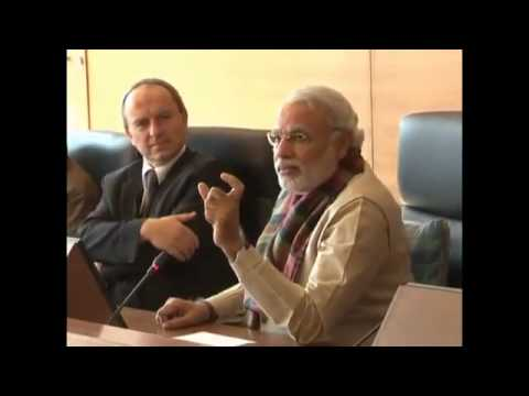 Gujarat CM Narendra Modi interacts with the students of HoF University Germany