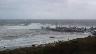 Port Orford, OR Dock and Beach Destruction caused by Storm and High Waves