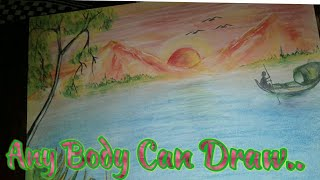 Easy Drawing || How to draw Morning Scenery||Painting....