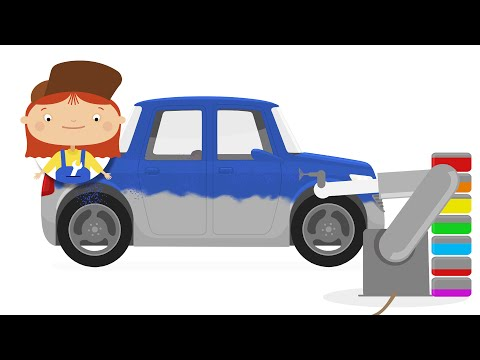 Cartoon for kids. Doctor Mac Wheelie in car factory
