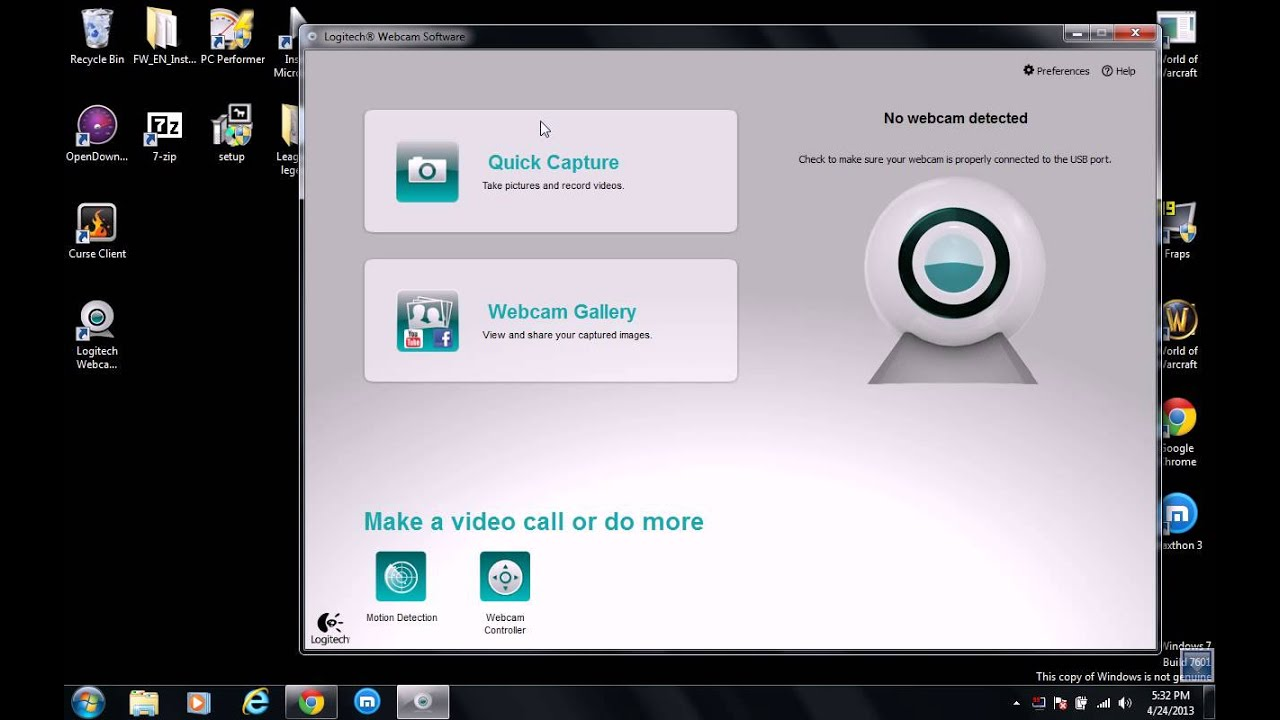 Software programming link webcam