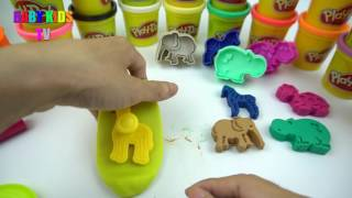 Learn Colors with Play Doh!!! Animal Molds Hippo Zebra Turtle Giraffe Lion Elephant Baby Kids TV