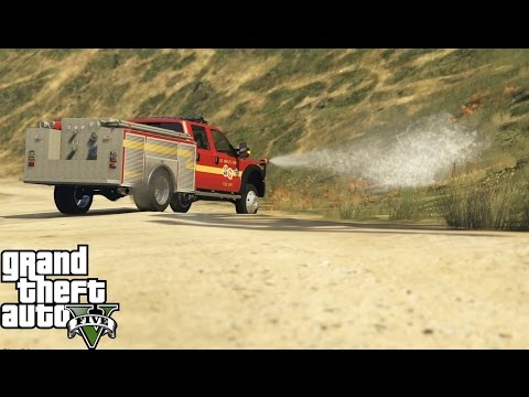GTA 5 | Rescue Mod V Day 14 | Firefighter Mod | Ford F-350 Brush Fire Truck Putting Out Brush Fires