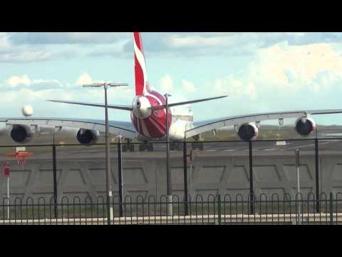 Qantas Airlines A380-800 [VH-OQJ] Takeoff from 16R at Sydney Airport HD