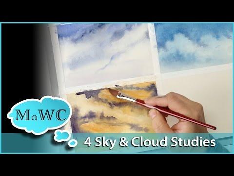 Painting Clouds and Skies in Watercolor. 4 Studies