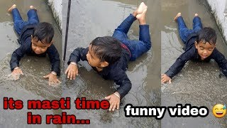 Funny baby video    little baby plying with rain 2019  Funny baby clips video