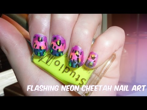 Flashing neon cheetah nail art