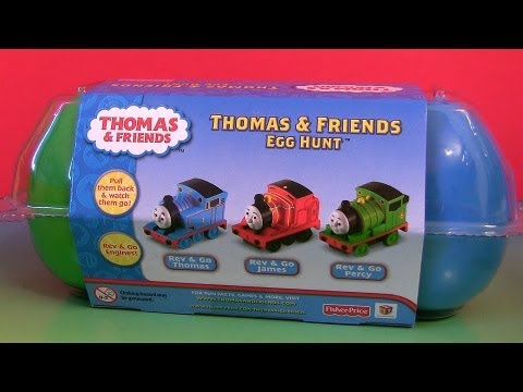 Thomas & Friends Egg Hunt Toy Surprise James Percy Thomas Rev & Go Unboxing By Disneycollector video