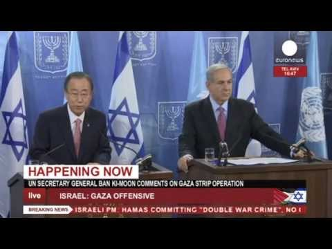 Netanyahu & Ban Ki Moon joint conference on Gaza offensive (recorded LIVE feed)