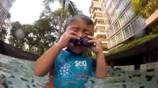 Jayden learning to blow bubbles underwater