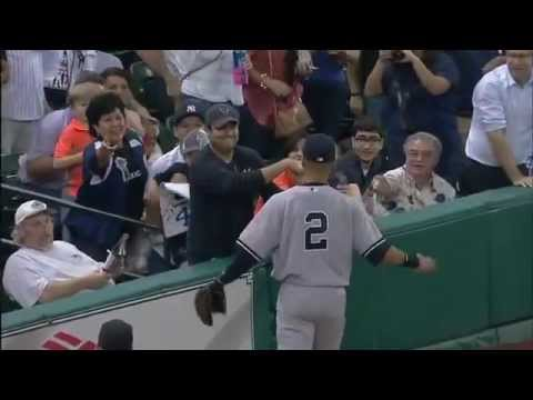 Adult Tries to Steal Ball from Little Girl, Derek Jeter Makes Sure She Doesn't.