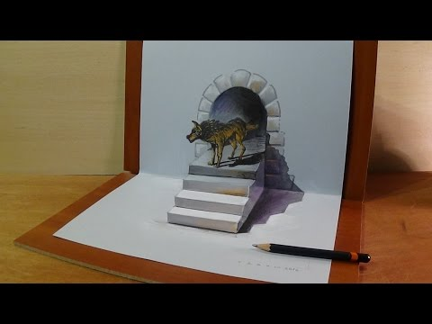 Drawing a Wolf, 3D Trick Art