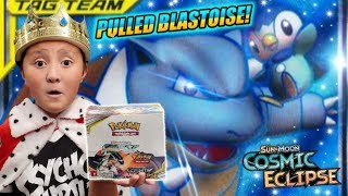 KING ETHAN PULLS HIS FAVORITE NEW POKEMON CARD BLASTOISE! COSMIC ECLIPSE BOOSTER BOX BATTLE OPENING!