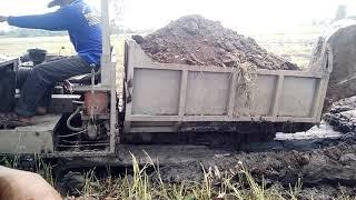 Xe cẩu múc đất ruổng đổ nền nhà(2)