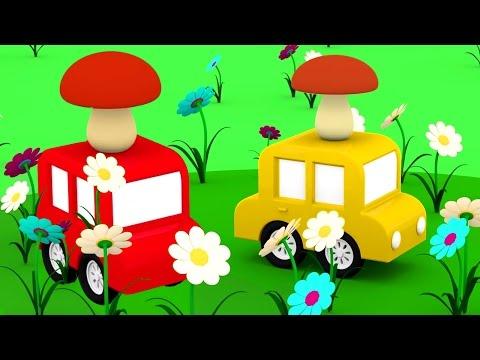 3D мультики про машинки. 4 МАШИНКИ собирают грибы. Развивающие мультфильмы.