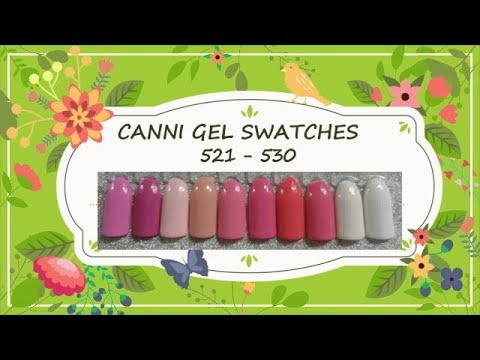 Canni Gel Paint Swatches 521- 530
