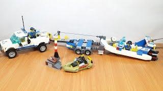 Lắp ghép 2 bộ Lego Xe Cảnh Sát kéo Tàu Biển Bắt Cướp - mở hộp đồ chơi trẻ em