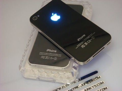 how to install Iphone LED Glowing Backcover MOD set with Installation Shining apple Logo