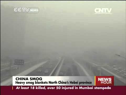 Heavy smog blankets North China's Hebei province