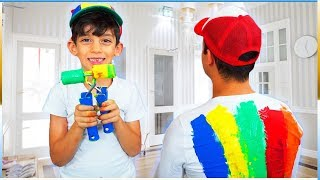 Jason Learns Colors with Paint and Funny Brother T-Shirt