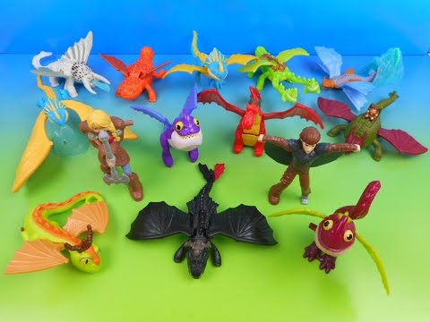 2014 HOW TO TRAIN YOUR DRAGON 2 SET OF 14 McDONALD'S HAPPY MEAL MOVIE TOY'S VIDEO REVIEW