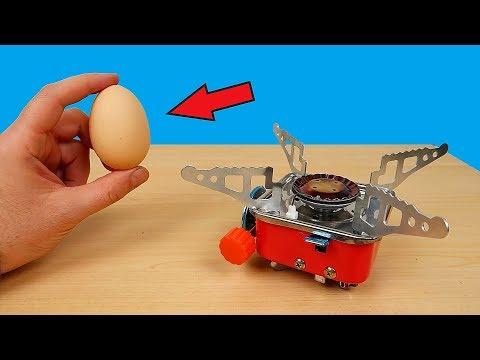 Проверка Мини Газовой плитки из Китая! Как я в лесу яйцо варил! alex boyko