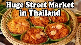 Street Food & Shopping at a Huge Street Market in Thailand. Thai Street Food in Nakhon Si Thammarat