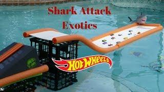Hot Wheels exotics shark attack swimming pool tournament race