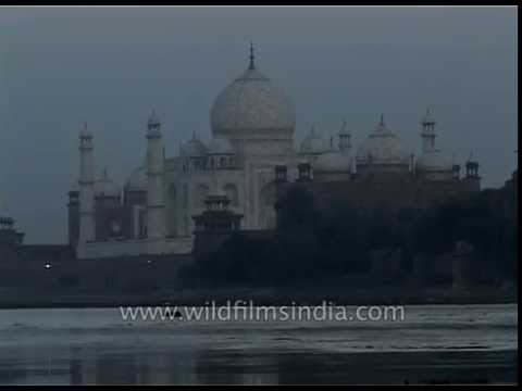 Taj Mahal distant view in the backdrop of river Yamuna