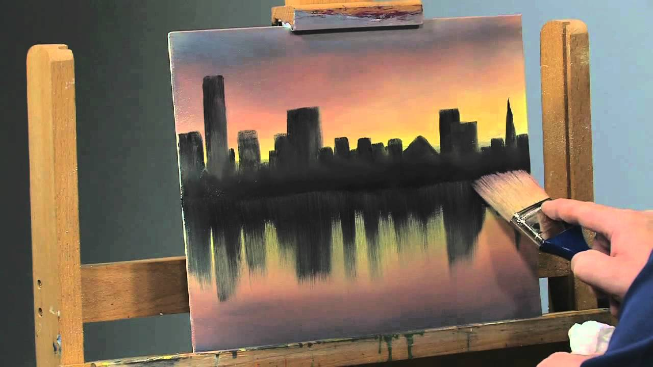Paint along how to paint a cityscape in oils part 2 for How paint on canvas
