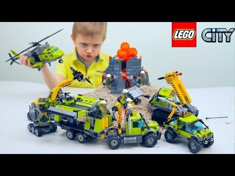 ЛЕГО Вулкан - LEGO City База Исследователей Вулканов 60124 и Разведывательный Грузовик 60121