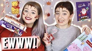 APPLYING A FULL FACE OF MAKEUP WITH CHRISTMAS FOOD!! W/ SOPHDOESNAILS!
