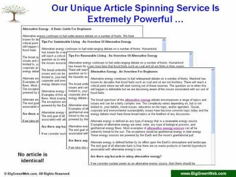 0 BigGreenWeb.com   Article Marketing Services Overview