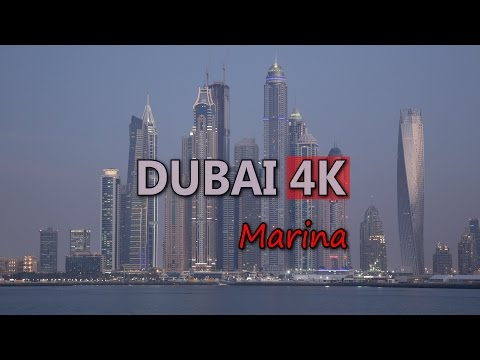 Ultra HD 4K Dubai Marina Skyline UAE Towers Sightseeing Busy City Highway UHD Video Stock Footage