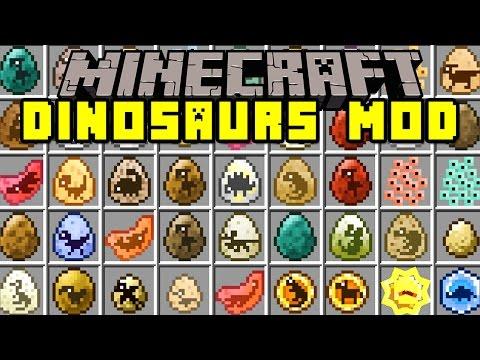 Minecraft DINOSAURS MOD!   T-REX. SPINOSAURUS. INDOMINUS REX. & MORE!   Modded Mini-Game