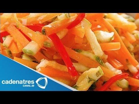 Receta para preparar vegetales en juliana. Receta vegetariana / Receta fácil / Los mikos