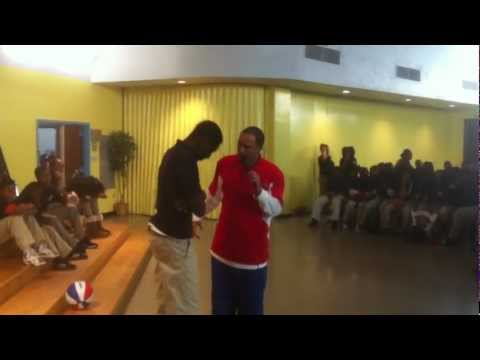 Choo performs with a student from Collington Square who surprisingly stuns Choo and the students with his great ball skills. This kid has a future.