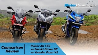 Pulsar AS 150 vs Suzuki Gixxer SF vs Yamaha Fazer V2 - Comparison Review | MotorBeam