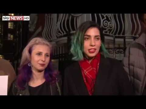 Pussy Riot answer questions after meeting Julian Assange
