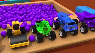 Learn Colors Construction Vehicle Toys and Magic Water Slide for Kids Nursery Rhymes & Kids Songs