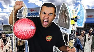 We Built DANGEROUS DIY Apocalypse Survival Weapons Using Only Things From Thrift Shops!!