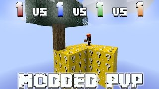 LUCKY BLOCK SKYWARS 1v1v1v1 MODDED PVP (MODDED MINECRAFT) w/LandonMC and Friends