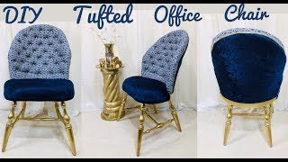 Dollar Tree / Home Depot / Walmart / DIY / Manualidades / Glam Tufted Office Chair Under $30 2019