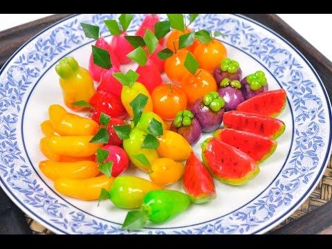 Fruit Shaped Mung Beans (Thai Dessert) - Kanom Look Choup ขนมลูกชุบ